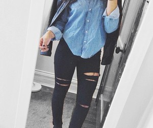 black leather jacket, black ripped jeans, and blue denim shirts image
