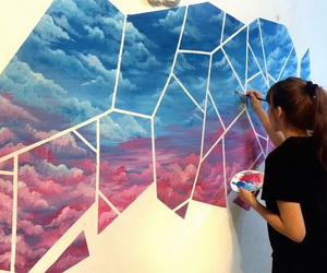 art, artist, and clouds image