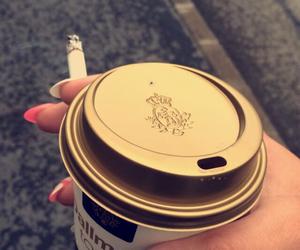cappuccino, cigarette, and coffee image