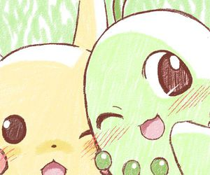 pikachu, pokemon, and chikorita image