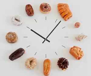 food, clock, and donuts image