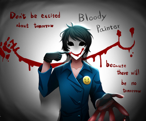 creepypasta, bloody painter, and blood image