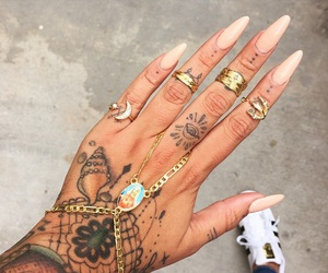 nails, tattoo, and jewelry image