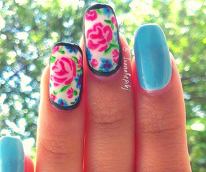 florals, flowers, and nail art image
