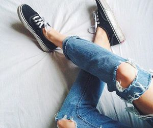 alternative, ripped jeans, and vans image