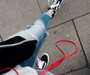 jeans, ripped, and vans image