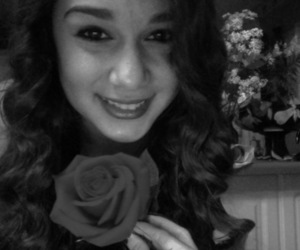 black and white, girl, and rose image