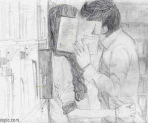 books, kiss, and love couple image