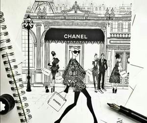 chanel, girl, and drawing image
