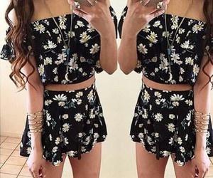 outfit, floral, and flowers image