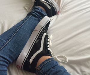 black and white, pretty, and vans image