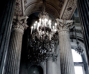 architecture, chandelier, and dark image