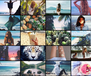 Collage, FRUiTS, and girls image