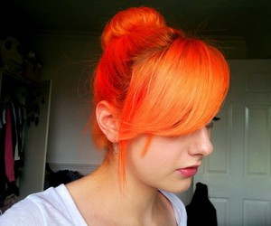 dyed hair, colored hair, and orange image