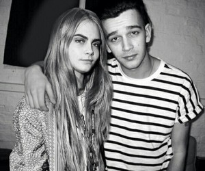 black and white, cara delevigne, and matty healy image