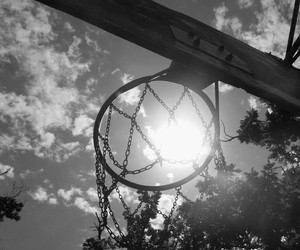 Basketball, black and white, and hoop image