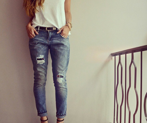 jeans, ripped jeans, and white image
