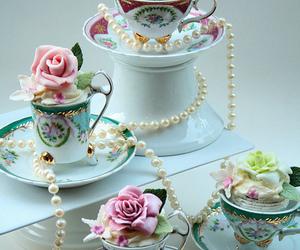 cupcake, sweet, and tea cup image