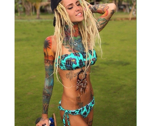 bikini, tattooed, and dread girls image