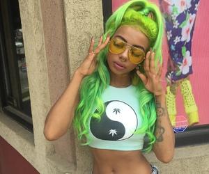 denim, sunglasses, and green hair image