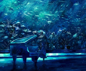 piano, anime, and fish image