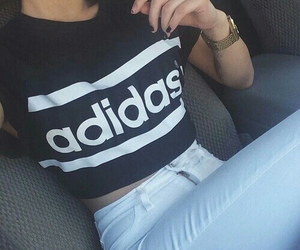 adidas, black and white, and clothes image