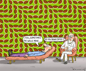 funny, coffee, and wall image
