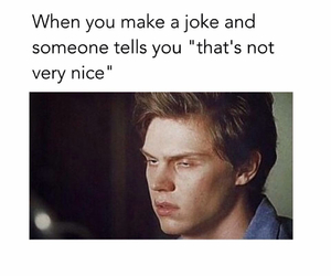 funny, joke, and evan peters image