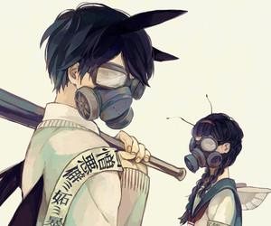 anime, boy, and gas mask image