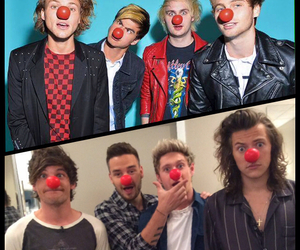 red nose day, 5sos, and one direction image