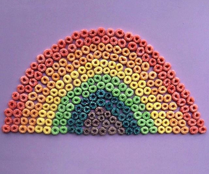 rainbow, cereal, and colors image