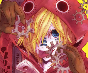 blue eyes, gears, and kagamine len image