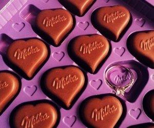 chocolate, milka, and heart image