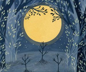 art print, forest, and moon image