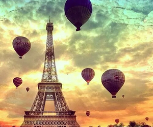 balloons, eiffel tower, and photography image
