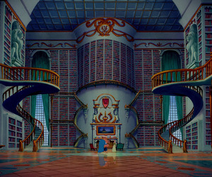book, library, and disney image