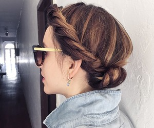 brunette, bun, and earrings image