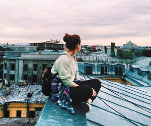 girl, beautiful, and roof image