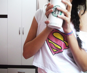 starbucks, girl, and superman image