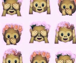 monkey, emoji, and flowers image