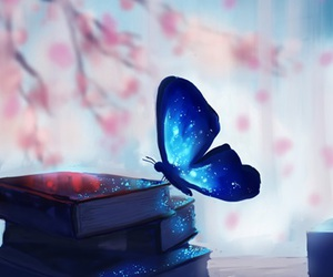 butterfly, book, and blue image