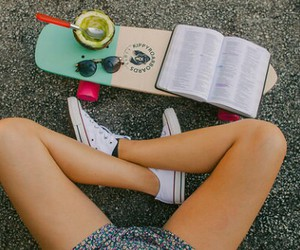 book, breakfast, and converse image