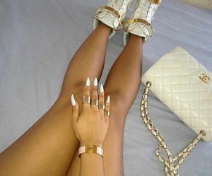 bag, long nails, and woman image