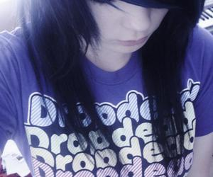 black hair, drop dead, and emo image
