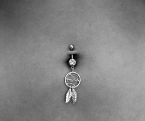 belly button piercing, girl, and piercing image