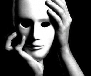 black and white, yourself, and mask image