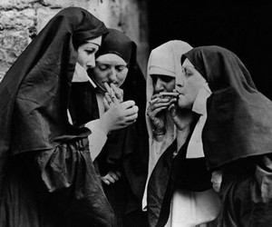 nun, smoke, and black and white image