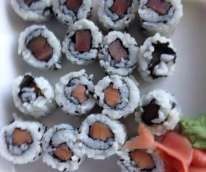 food, lunch, and sushi image