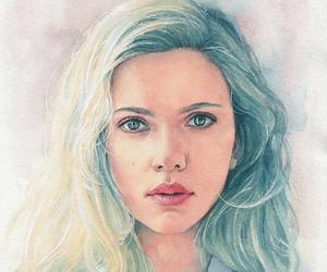 art, draw, and Scarlett Johansson image