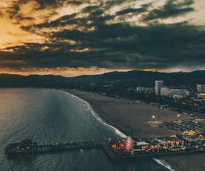 city, sky, and beach image